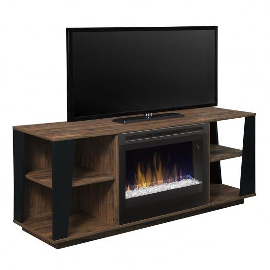 Arlo Media Console Electric Fireplace, Tan Walnut Finish, Acrylic Ice (DFR2551) Firebox photo