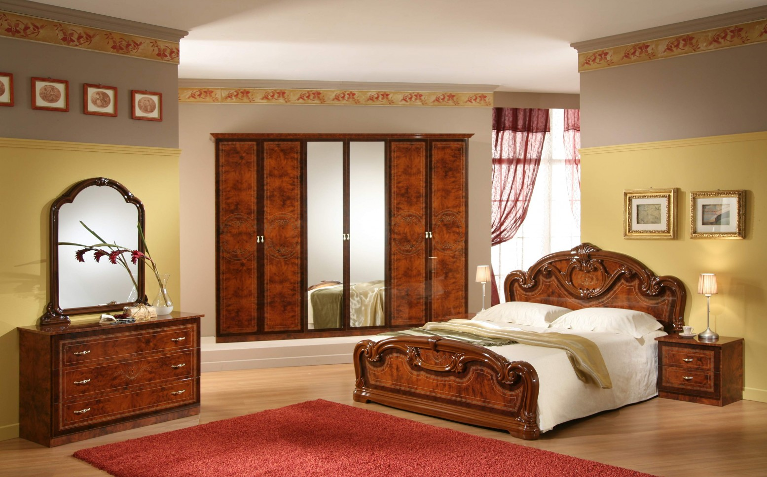 Gioia Queen Size Bedroom Set, Walnut