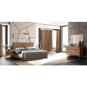 Akademy Fold 3-Piece Queen Size Storage Bedroom Set w/Eco Leather Ring