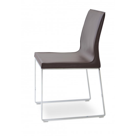 Polo Sled Dining Chair, Chrome, Brown Bonded Leather photo