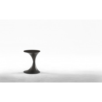 Andorra Side Table, Carbon Grey Metal Base, Heat-Treated Dark Oak Wood Top