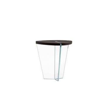 Aida Side Table, Extra Clear Transparent Glass Base, Heat-Treated Dark Oak Wood Top