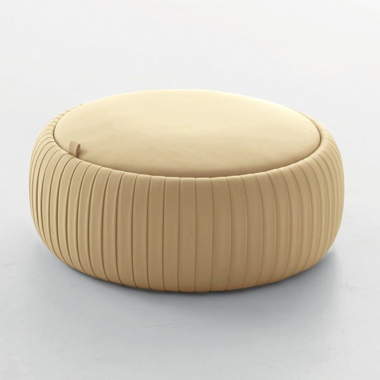 Plisse Medium Pouf, Cream Eco-Leather photo