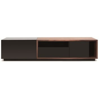 047 TV Stand, Black High Gloss + Walnut by J&M Furniture