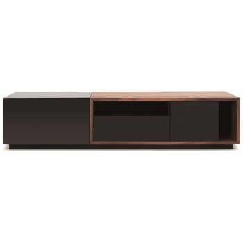 047 TV Stand, Black High Gloss + Walnut by J&M Furniture