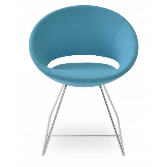 Crescent Wire Chair, Chrome, Turquoise Camira Wool, Large Seat photo