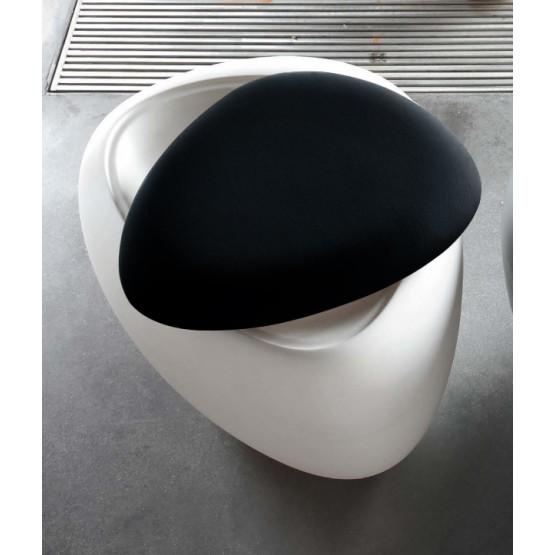 Ios Pouf, White Polyethylene Base, Black Orchidea Fabric photo