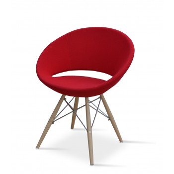 Crescent MW Chair, Natural Veneer Steel, Red Wool, Large Seat by SohoConcept Furniture