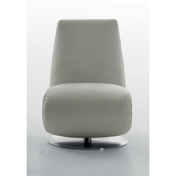 Ricciolo Chaise Lounge, Gull Grey Leather