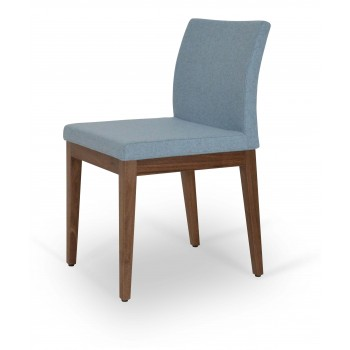 Aria Wood Dininng Chair, American Walnut Wood, Smoke Blue Camira Wool by SohoConcept Furniture