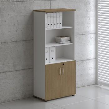 Basic K5404 2-Door Storage, White + Canadian Oak