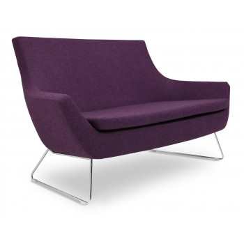 Rebecca Wire Sled Two Seater, Deep Maroon Camira Wool by SohoConcept Furniture