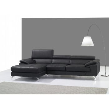 A973B Italian Leather Mini Sectional, Left Arm Chaise Facing, Black by J&M Furniture
