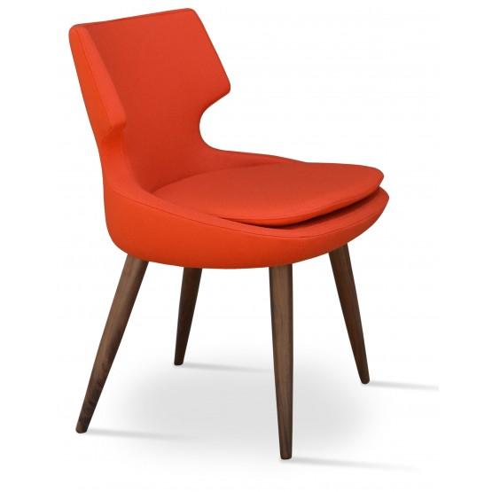 Patara Wood Dining Chair, American Walnut, Orange Camira Wool photo