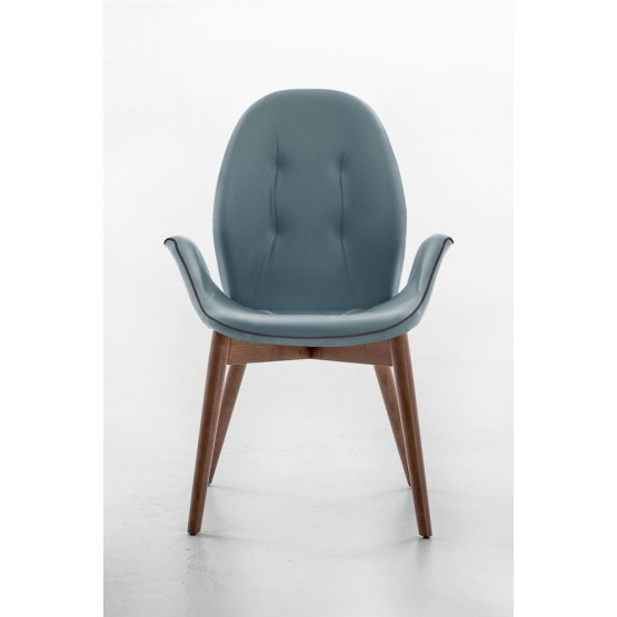 Sorrento Dining Arm Chair, Canaletto Walnut Wood Base, Lavender Leather Upholstery, Dark Brown Сreasing photo