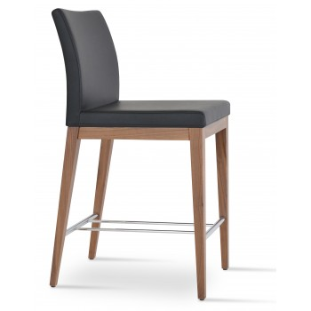 Aria Wood Bar Stool, Solid Beech Walnut Color, Black Leatherette by SohoConcept Furniture