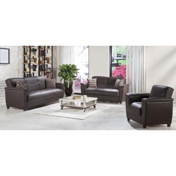 Aspen 3-Piece Living Room Set, Santa Glory Dark Brown