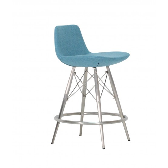 Pera MW Counter Stool, Stainless Steel, Turquoise Camira Wool photo