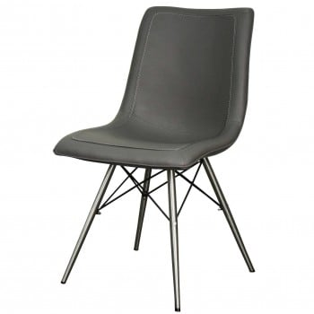 Blaine PU Chair Stainless Steel Legs, Stormy Grey, Set of 2 by NPD (New Pacific Direct)