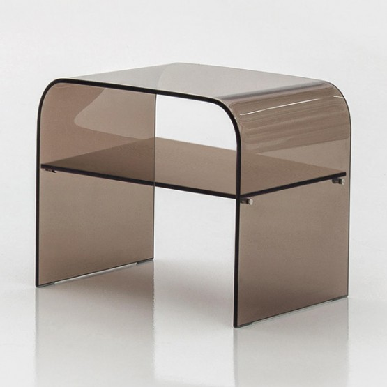 Anemone Side Table with Bronze Transparent Glass Shelf, Bronze Transparent photo