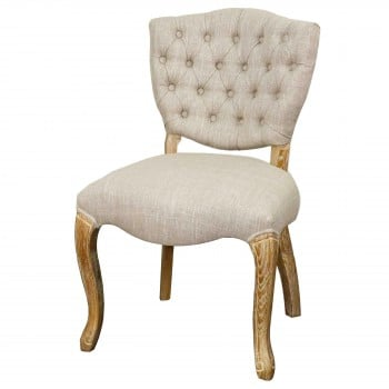 Adrienne Fabric Chair, Natural Wood Legs, Rice, Set of 2 by NPD (New Pacific Direct)