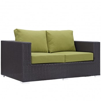 Convene Outdoor Patio Loveseat, Espresso, Peridot by Modway