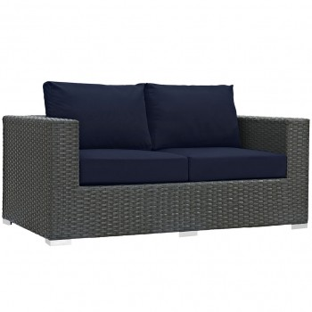 Sojourn Outdoor Patio Sunbrella® Loveseat, Canvas Navy by Modway