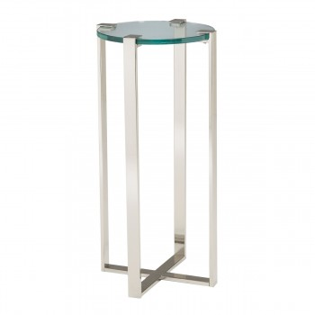 Uptown Plant Stand In Polished Nickel And Clear Glass