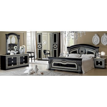 Aida King Size Bedroom Set, Black + Silver