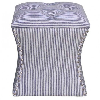 Amelia Nailhead Ottoman, Blue Stripes by NPD (New Pacific Direct)