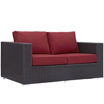 Convene Outdoor Patio Loveseat, Espresso, Red by Modway