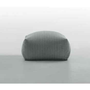 Truly Large Pouf, Grey Gessato Fabric