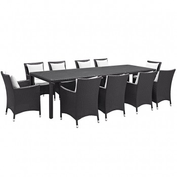 Convene 11 Piece Outdoor Patio Dining Set, Сomposition 1, Espresso, White by Modway
