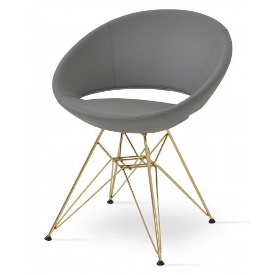 Crescent Tower Chair, Gold Brass, Grey PPM photo