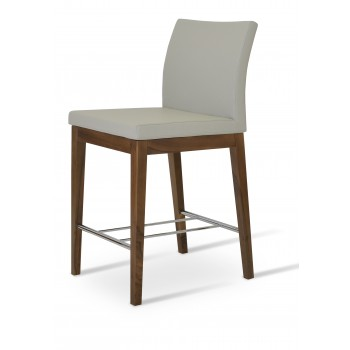Aria Wood Counter Stool, Solid Beech Walnut Color, Light Grey Leatherette by SohoConcept Furniture