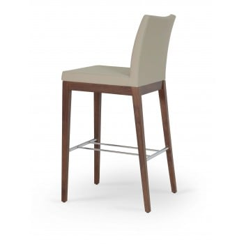 Aria Wood Bar Stool, Solid Beech Walnut Color, Bone PPM by SohoConcept Furniture