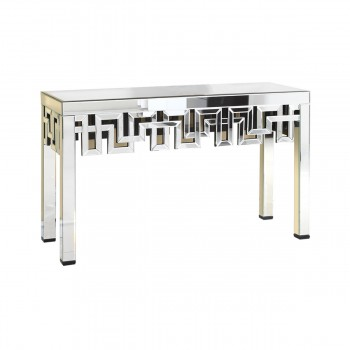 Modern MF-3003C Console Table, Silver + Clear Mirror