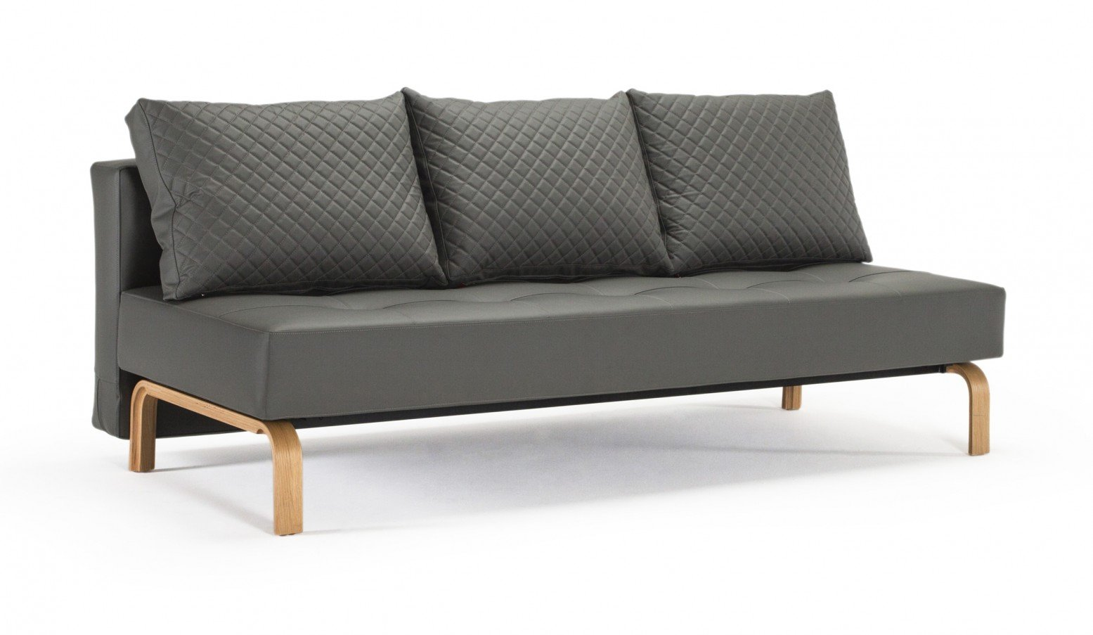 Supremax Quilt Deluxe Full Sofa Bed, 585 Leather Look Grey PU + Oak Legs by  Innovation Living