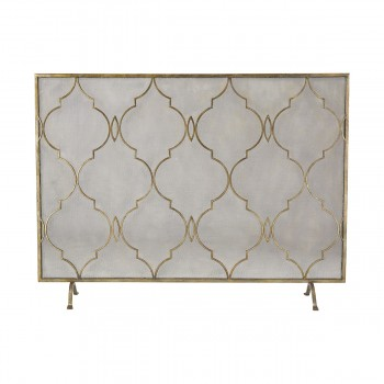 Agra Antique Gold 34-Inch Metal Fire Screen