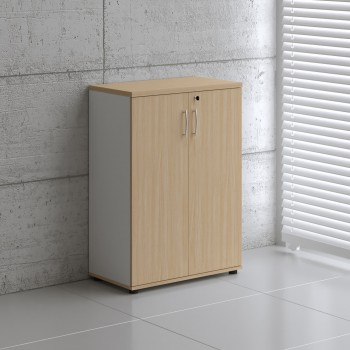 Basic K3104 2-Door Storage, White + Beech
