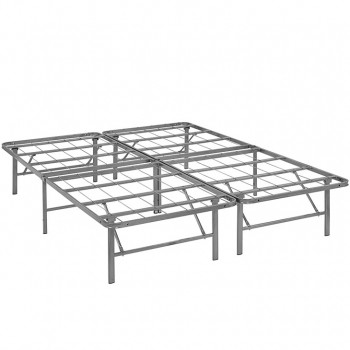 Horizon Full Stainless Steel Bed Frame, Silver by Modway