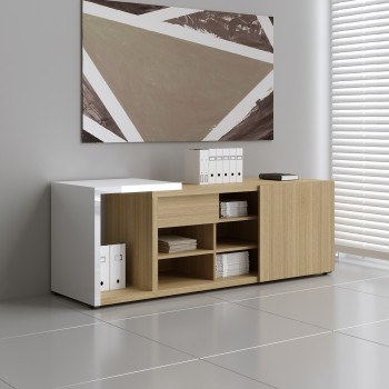 Mito Managerial Storage MIT5, Light Sycamore + White High Gloss