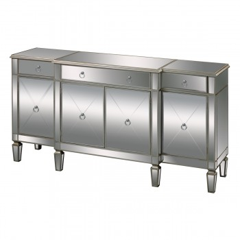 Bodrum Buffet Server In Clear Mirror And Champagne Silver Leaf