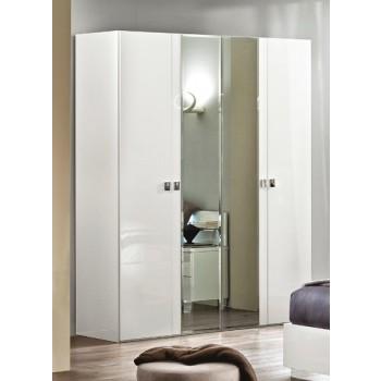 Onda 4-Door Wardrobe with Mirror, White