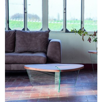 Aida Coffee Table, Clear Transparent Glass Base, Canaletto Walnut Wood Top