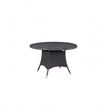"Convene 47"" Round Outdoor Patio Glass Top Dining Table, Espresso by Modway"