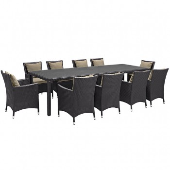 Convene 11 Piece Outdoor Patio Dining Set, Сomposition 1, Espresso, Mocha by Modway