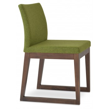 Aria Sled Wood Dininng Chair, Solid Beech Walnut Finish, Forest Green Camira Wool by SohoConcept Furniture