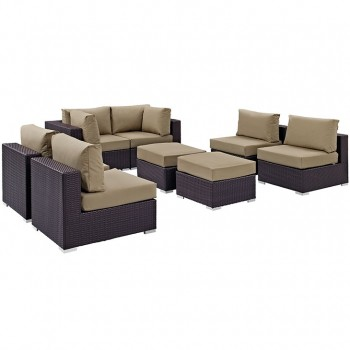 Convene 8 Piece Outdoor Patio Sectional Set, Сomposition 2, Espresso, Mocha by Modway