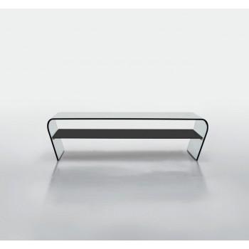 Amaranto Coffee Table with Black Glass Shelf, Extra Clear Transparent